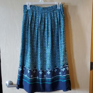 NWOT Green and Blue A-line Skirt